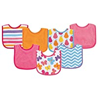 Luvable Friends Print Drooler Bib, Pink Butterflies, 7 Count