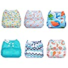 Mama Koala Washable Reusable One Size Baby Pocket Cloth Diapers, 6 pcs + 6 Inserts, Mamma Earth