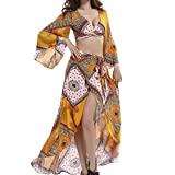 Partiss Women Bodycon Bohemian Style Slim Maxi 2 Pieces Dress Outfits(Chinese XL,Yellow)