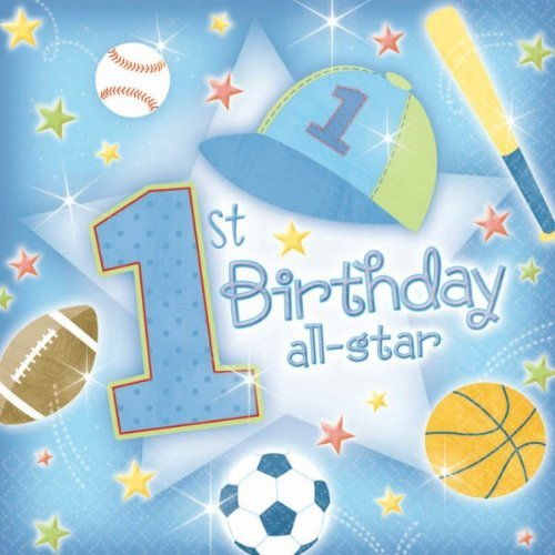 Amscan International First Birthday All Star Party Napkins, Pack Of 36