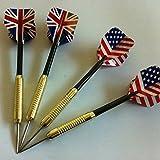New 4pcs Steel Needle Tip Darts With Nice National Flag Flights In Door Games.
