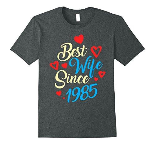 Mens 32nd Wedding Anniversary Gifts 32 Best Wife Since 1985 XL Dark Heather