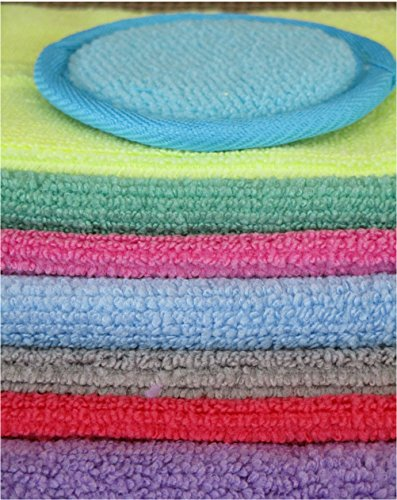 7 Top Quality, Non-Allergenic, Anti-Bacterial Microfiber Facial and Skin Care Wash Cloths and a Makeup Removing Pad. 7 Colors One for Each Day of the Week. Safe for Every Member of Your Family.