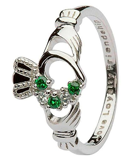Women's Sterling Silver Stone Set Claddagh Ring (7.5)