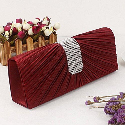 Clutch Womens Jane Bridal Bag Handbag Prom Ladies Evening Pleated Black Wine AiSi Satin Diamond Purse Red Ca0xdaqF