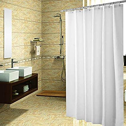 YUUNITY Mildew Resistant Polyester Fabric Shower Curtain With Hooks Waterproof Non Toxic Eco Friendly