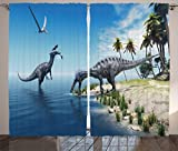 Ambesonne Jurassic World Curtains Dinosaurs Decor, Large Fish is Caught By a Suchomimus Dinosaur Flying Pterosaur Dino, Living Room Bedroom Decor, 2 Panel Set, 108 W X 84 L Sky Blue and Green For Sale
