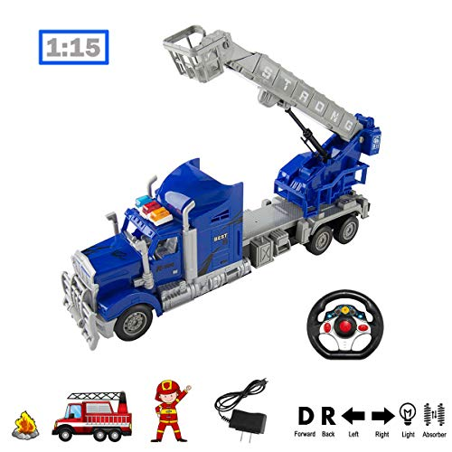 RC Truck 1:15 Scale Radio Remote Control Ultimate Rescue Fire Truck with Extending Ladder, Battery Powered RC Toy Fire Truck Rescue Play Vehicle with Lights and Sounds, Great Gift for Kids Blue ()