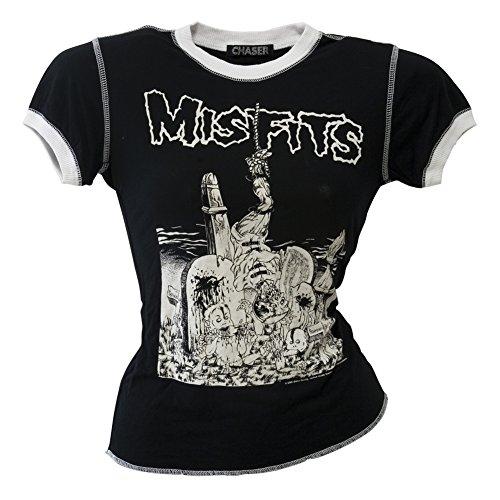 Old Glory Misfits - Womens Pushead Graveyard Juniors Ringer T-shirt Large Black