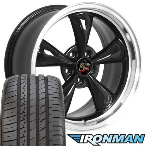 18x9 Wheels and Tires Fit Ford Mustang - Bullitt Style Black Rim w/Ironman Tires - SET Black Bullitt Wheel