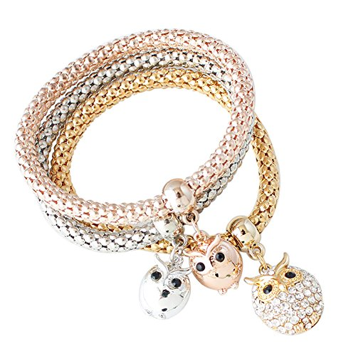 Trolax 3 PCS Rope Owl Bangle Charm Rose Gold Silver Plated Butterfly Elephant Crystal Bracelet Multilayer Bangles ()