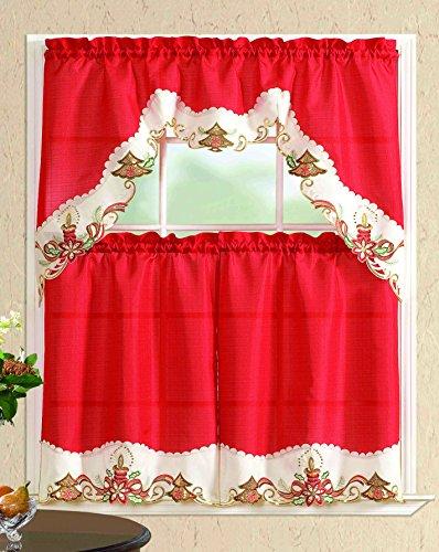 All American Collection New 3pc Christmas Holiday Design Embroidered Kitchen Curtain Set Tree With