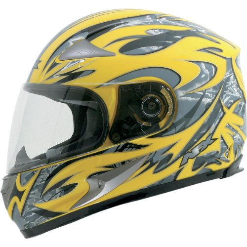 AFX Species Adult FX-90 Full Face Motorcycle Helmet - Hi-Vis Yellow Multi / Small