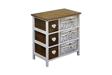 Rebecca srl cassettiera mobile bagno cassetti cuore paris legno