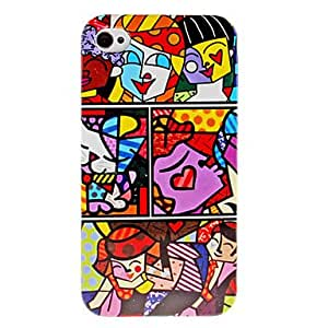 Colorful People Pattern Hard Case for iPhone 4 and 4S