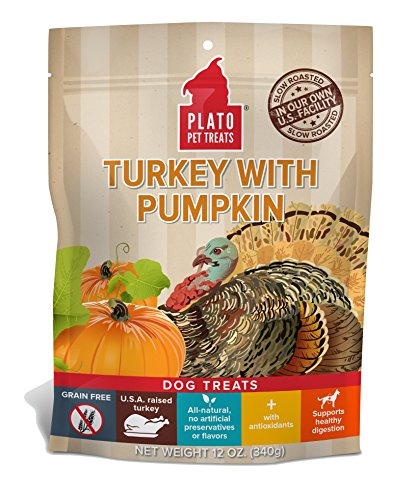 Plato Treats Eos- Grain Free Turkey And Pumpkin Dog Snack, 12-Ounce Bag