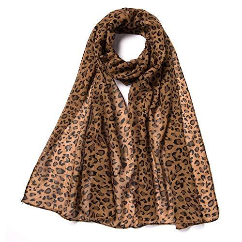 - Silky Fashion Brown Leopard Print Soft Scarf Shawl Wrap for women girl