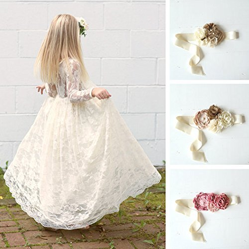 Lace Boho Long Sleeve Flower Girl Dress