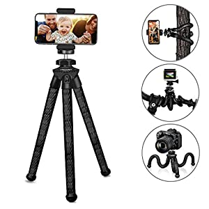 """UBeesize Tripod X, Flexible Camera Tripod, 12"""" Sturdy Mini Tripod Stand for DSLR/GoPro/Action Cam/Camcorder, Small Tripod with Cell Phone Holder Clip for iPhone/Android Phone"""