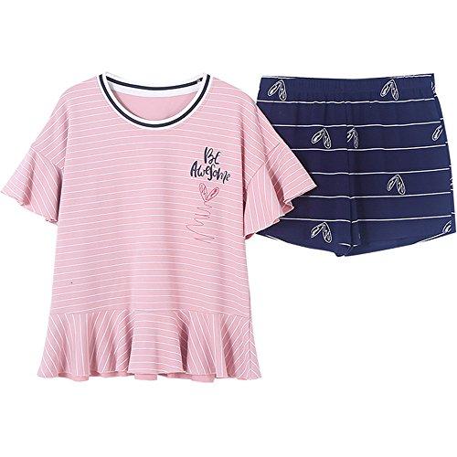 In Camicia Pigiama Set Per 2 Casa Casual Carino La Pantaloni Corte Cotone A Maniche Maniche Tuta Corte A Ellse qXvdwZZ
