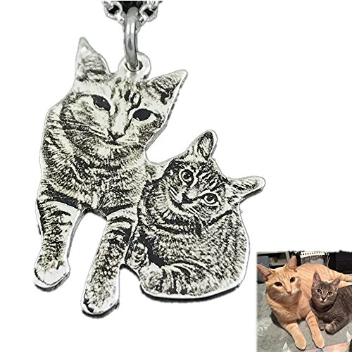 (Private custom Provide photo customization 925 sterling silver DIY dog Pedant Necklaces pet Charm (Silver 18