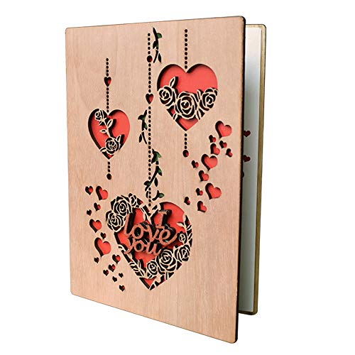 I Love You Heart Greeting Cards for Christmas Valentines Wedding Anniversary Birthday Gifts, Blank