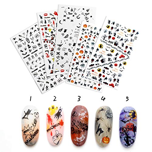 QIMYAR Halloween Nail Art Stickers 3D Christmas Decals Self-adhesive Tip Xmas Designs 6 Sheets -