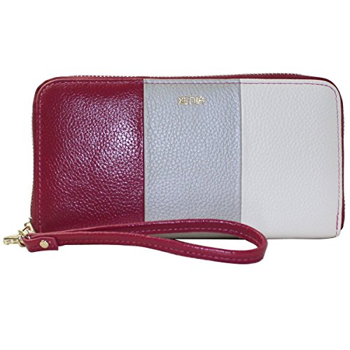 Handbag Wallet Clutch Xenia Pink Zip Style Around White Purse Gray xqrIPUq