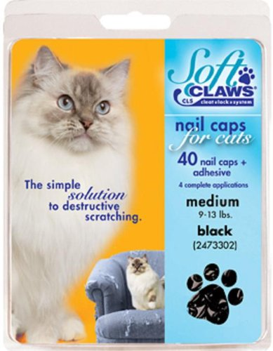 Soft Claws Feline Nail Caps - Black - Medium ()