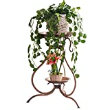 Floor-Standing Double Tier Wrought Iron Flower Stand Retro Copper Balcony Shelf, Living Room Decoration Corner Frame,Save Space