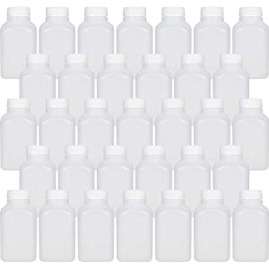 10 Oz Empty Plastic Juice Bottles with Tamper Evident Caps – 33 Pack Drink Containers - Great for Homemade Juices, Milk, Smoothies, Tea and Other Beverages - Food Grade BPA Free