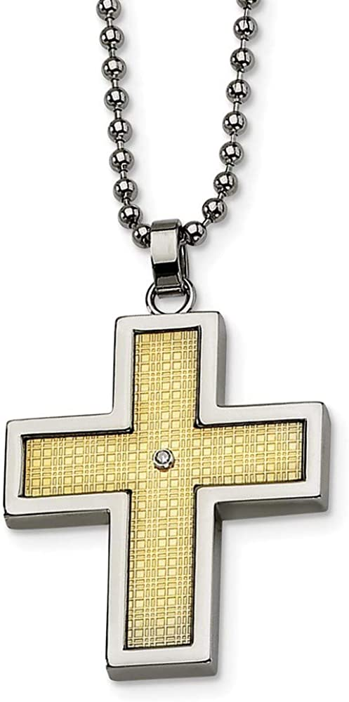 Roy Rose Jewelry Stainless Steel 14k Gold-Plated w//Diamond Accent Cross Necklace 22 inches Length