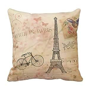 Cotton 16 X 16 Twin Sides Vintage Eiffel Tower Art Pillowcases