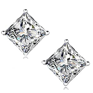 """STUNNING FLAME"" 18K Gold Plated Silver Princess Cut Simulated Diamond CZ Stud Earrings"