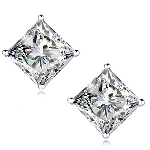 STUNNING-FLAME-18K-Gold-Plated-Silver-Princess-Cut-Simulated-Diamond-CZ-Stud-Earrings