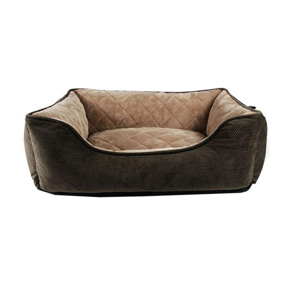 Brown a Large Brown a Large Pet nest Solid color short plush PP cotton mattress Suitable for dogs, cats, etc. Pet nest (color   Brown A, Size   L)