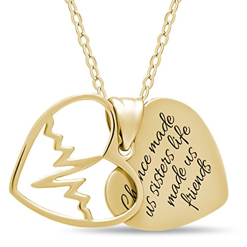 Two Gold Plated (TZARO-Jewelry 925 Sterling Silver Sister Two Heart Necklace for Best Sister Forever - Engraved 14K Gold Plated Double Heart Necklaces for Sister Silver Pendant for Sisters Heartbeat Charm)