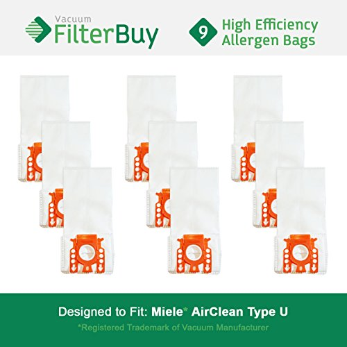 FilterBuy 9 Miele Type U Replacement Vacuum Bags, Replaces Miele Part # 07282050. Designed to fit Miele AirClean S7000-S7999 Upright Vacuum Cleaners