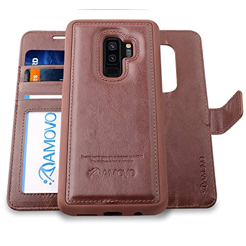 AMOVO Case for Galaxy S9 Plus [2 in 1], Samsung Galaxy S9 Plus Wallet Case [Detachable Wallet Folio] [Premium Vegan Leather] Samsung S9 Plus Flip Case Cover with Gift Box Package (S9 Plus, Brown)