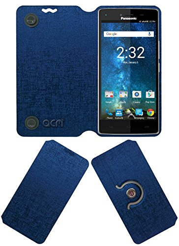 Acm Designer Rotating Flip Flap Case Compatible with Panasonic Eluga Turbo Mobile Stand Cover Blue