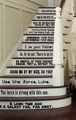 Stairway Decals Quote Wall Sticker for Stairs Star Wars Collection Large Set of 12 Fandom Quotes Vinyl Stairs Or Walls Decals Stair Riser Boys Room Bedroom Entry Jedi Yoda Darth Vader