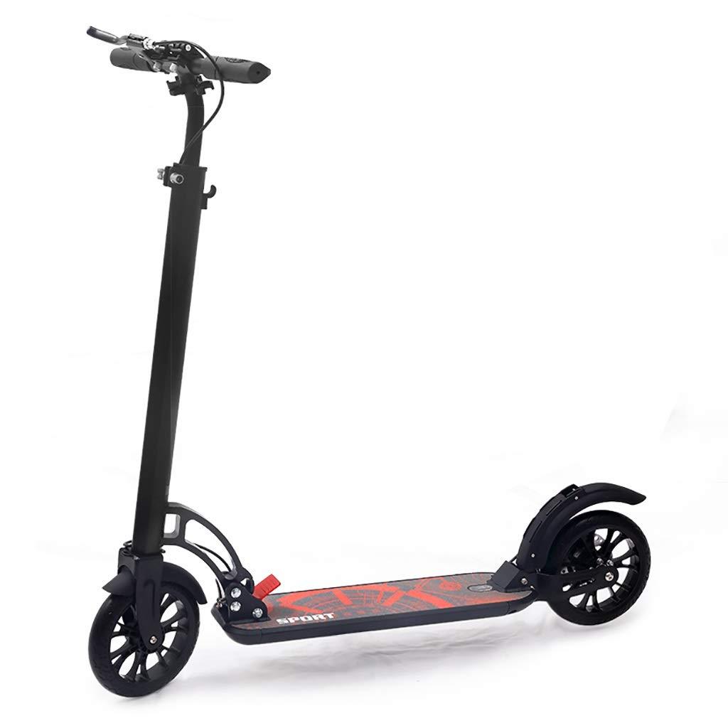 キック ボード 通勤, スクーター、大人用折りたたみ式二輪スクーター、PUホイール2個、高さ調節可能なアルミニウム製ボディ(非電動)