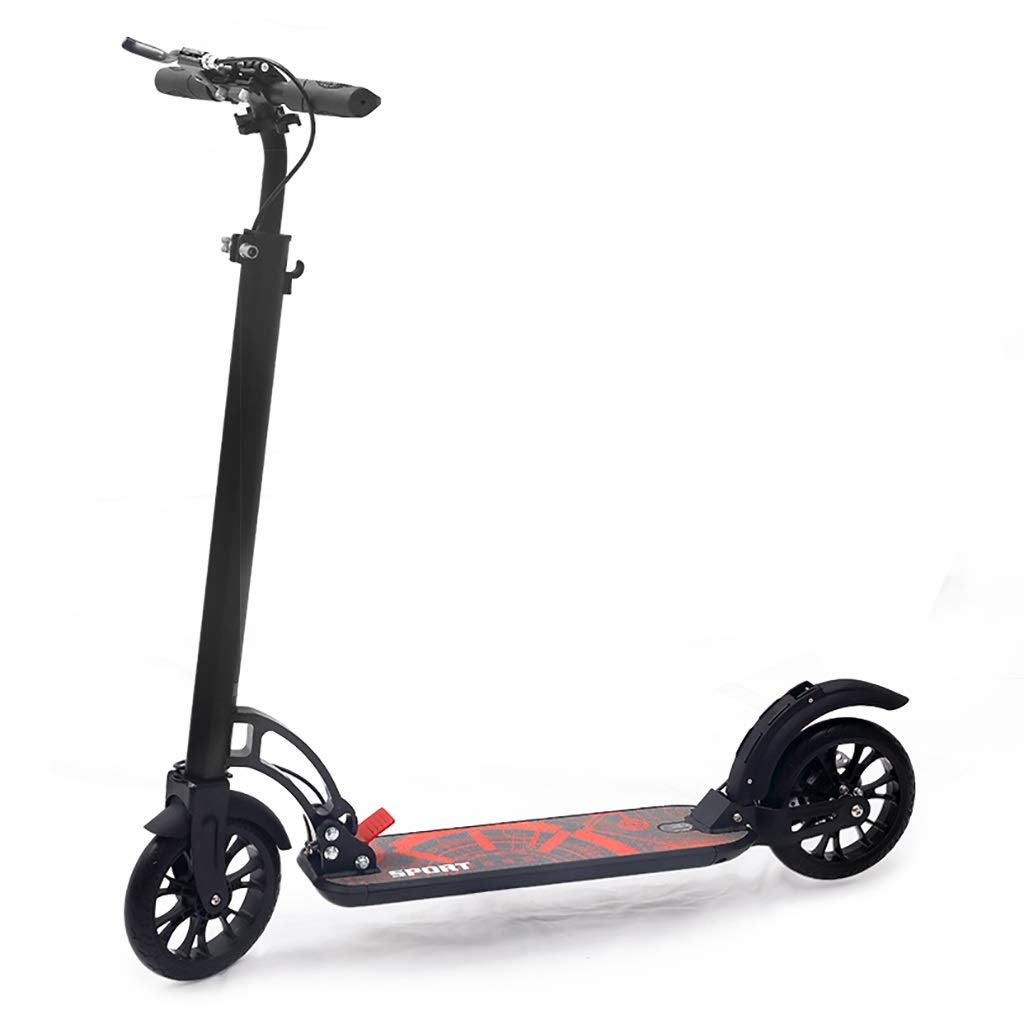 Commuter Scooter, Scooter, Adult Folding Two-Wheeled Scooter, 2 PU Wheels, Aluminum Body Height Adjustable (Non-Electric) by FNN-Scooter