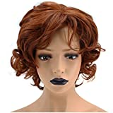 Anogol Hair Cap+Copper Red Orange Synthetic Wig Short Curly Hair Natural Hairline Women's Wigs