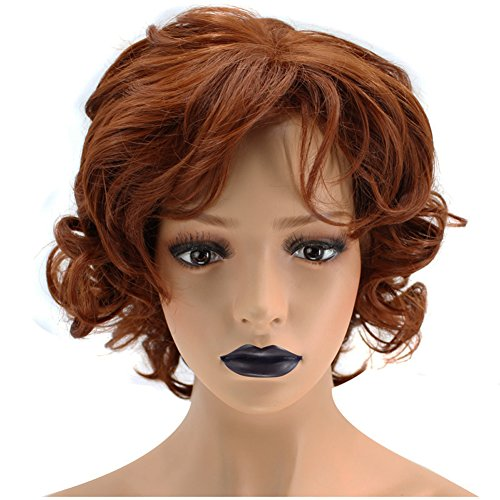 Anogol Hair Cap+Copper Red Orange Synthetic Wig Short Curly Hair Natural Hairline Women's Wigs ()