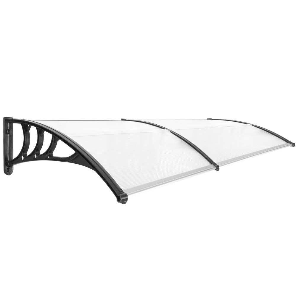 Canopy awning for door and window Patio cover shelter black 200x80cm PrimeMatik