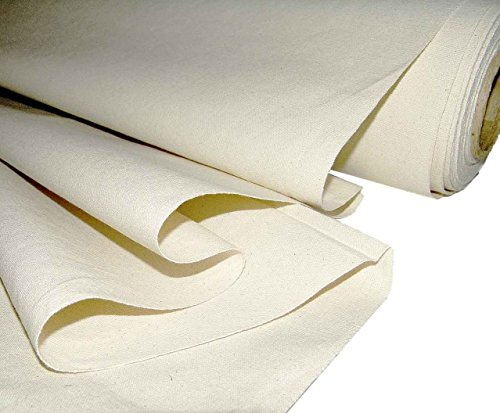 "Mybecca Unprimed Cotton Canvas Fabric 7oz Natural Duck Cloth 58"" Wide, Sold by The Yard"
