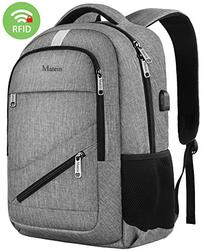 Travel Laptop Backpack,Matein NTE Laptop Backpack,Durable High School Backpack for Women Men,Business Computer Bag with USB Charging Port,Waterproof College Student Bookbag Fit 15.6 Inch Laptop-Grey
