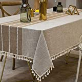 TEWENE Tablecloth, Rectangle Table Cloth Cotton Linen Wrinkle Free Anti-Fading EmbroideryTablecloths Dust-Proof Table Cover for Dining (Rectangle/Oblong, 55''x120'',10-12 Seats, Light Coffee)