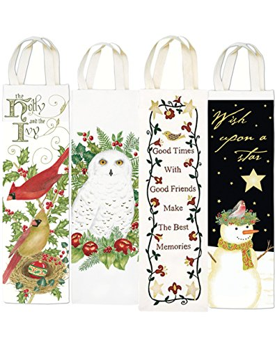 Reusable Wine Gift Bags Hostess and Housewarming Holidays - 4 Pack Including Cardinal, Owl, Good Times Memories, Snowman (Popcorn Bags Nautical compare prices)